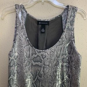 INC Snake Print Sequined Tank - M